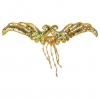 Motif Beaded 22cmx5cm Wing Shape 1Pc Gold Aurora Borealis